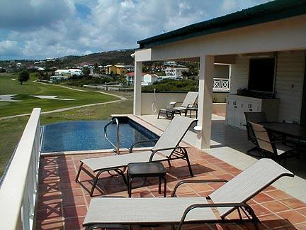Spacious veranda overlooking golf course and ocean - Private 3-bedroom Villa with infinity edge pool! - Frigate Bay - rentals