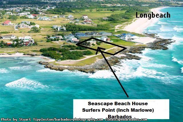Aerial photo of the unique oceanfront location on a peninsula of Seascape Beach House Surfers Point Barbados - Seascape Beach House Ocean Front Tropical Cottage Surfers Point Barbados - Ealing Park - rentals