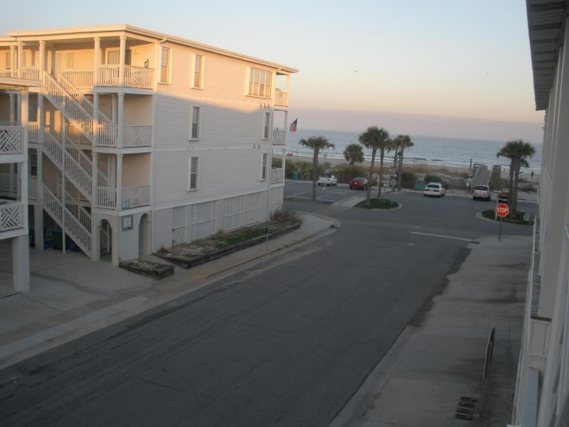 Great View of the Ocean from the Porch, relax  in the swing or comfortable chair with your group - 2 Bedroom, 2 bath Condo with Beach View - Tybee Island - rentals