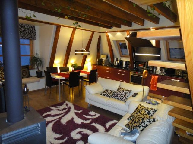 Living room with open plan kitchen - Deluxe 4 bedroom penthouse in medieval Old Town - Tallinn - rentals