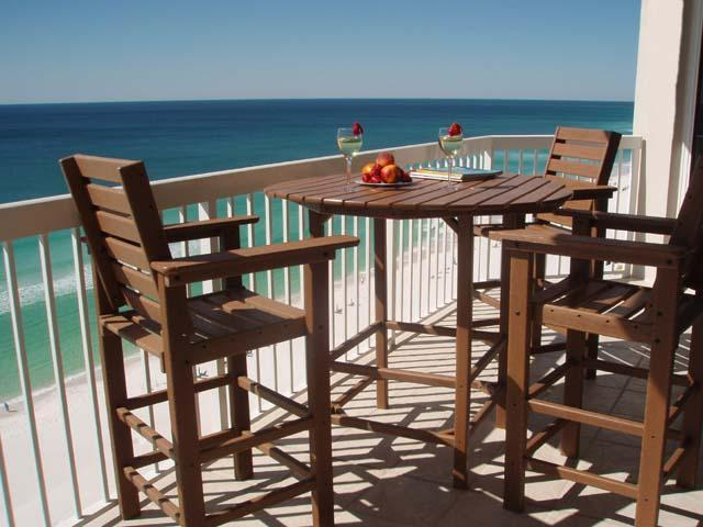 Balcony Gulf View - Beach Front View 2 Bedrm C Dolphins from balcony - Destin - rentals