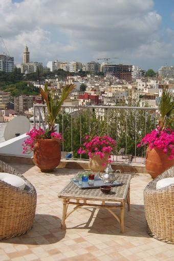 Terrace off upper bedroom - 3 bedroom, 3 bath house in historic Kasbah,Tangier - Tangier - rentals