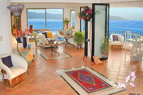 The Living Room Is Elegant, Spacious And Opens Onto The Terraza............ - Home Of The Dolphins, Oceanfront Luxury - Puerto Vallarta - rentals