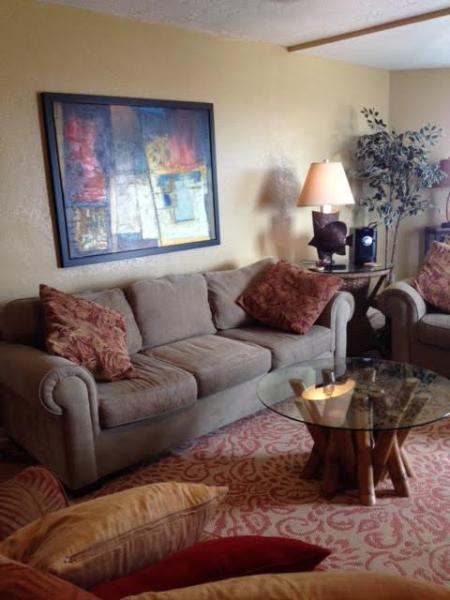 Living Room with Breakfast nook and door to balcony - Amazing Views of Beach and Bay!!  300sq ft Balcony - Port Aransas - rentals