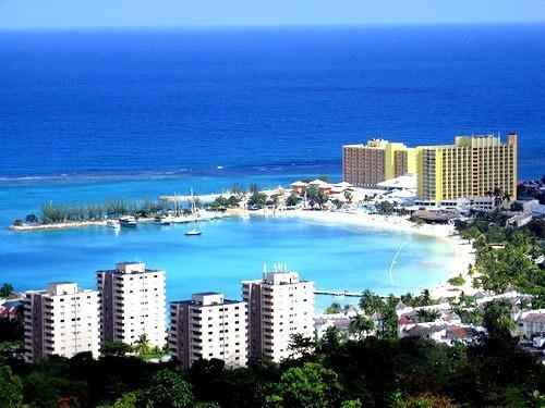 Beach front view of the town - Ocho Rios Beach front resort  1 & 2 bedroom condos-Wifi - Ocho Rios - rentals
