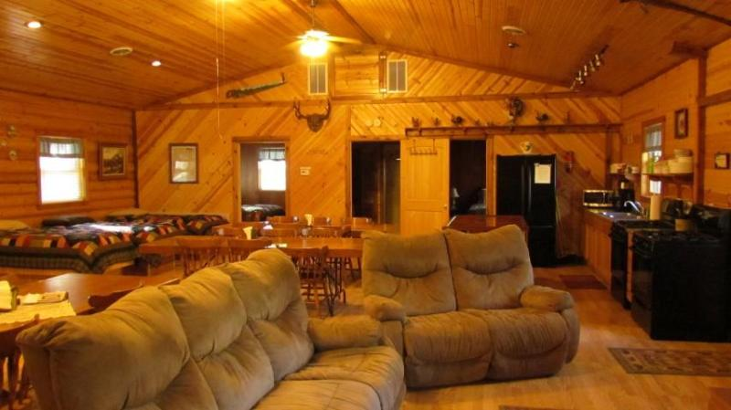 Living space open to kitchen and dining area - Kishauwau Cabins near Starved Rock Utica IL Grand - Utica - rentals