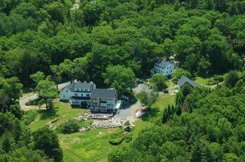 An aerial view of the estate Farmhouse and Cape - Bold Colorful Life Farmhouse and Cape - Boothbay - rentals