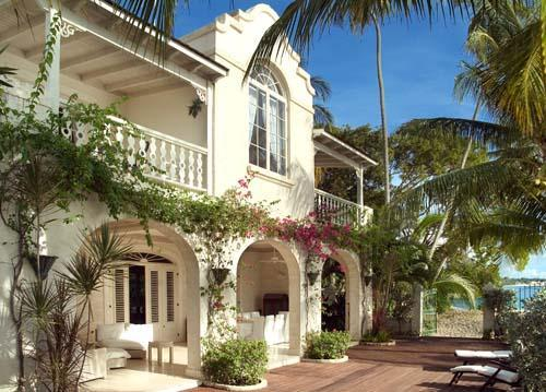 Caprice Beach Villa deck and beach gate - Caprice - Luxury beachfront villa in Barbados - Weston - rentals