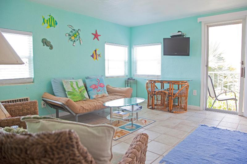 The main room of the unit - view as you enter - Waterfront Studio on Clearwater Beach - Clearwater Beach - rentals