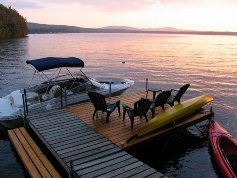 Dock your boat alongside the dock (bring bumpers) - 5 Bedroom Lakefront House on Great East Lake - Acton - rentals