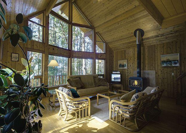 Open and spacious great room with cozy woodburning stove and satellite TV. - Captain's Cabin - Friday Harbor - rentals