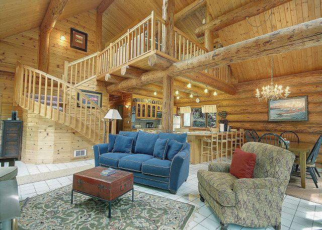 The open and spacious great room is ideal for families to relax and spend time together. - Elena Log Home - Friday Harbor - rentals