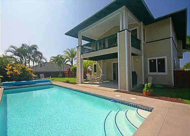 Large, secluded backyard with the sun, shade, pool and grass for - #PHMLani - Malulani Gardens - Kohala Ranch - rentals