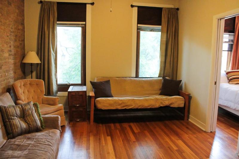 The Living Room with Futon and Extra Closet - Ideal 2Bedroom Lincoln Park 1 Block to Fullerton L - Chicago - rentals