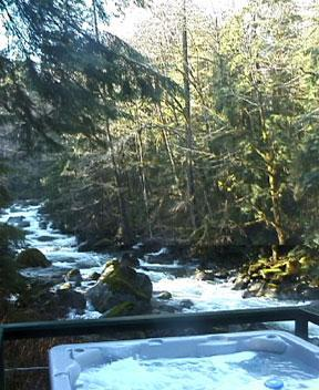 Private Hot tub on deck overlooking the  Index creek - A River Runs Through It Cabin at Stevens Pass - Baring - rentals