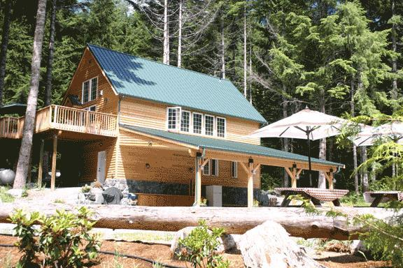 Lodging on 2nd floor with views all around.  Weddings are serviced by the large serving area under the overhang. - Forest Retreat @ Mt. Rainier - Mount Rainier National Park - rentals