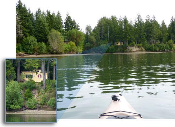View from Kayak looking back toward the caboose.  - Pirates Cove Caboose ~ Puget Sound Waterfront - Allyn - rentals