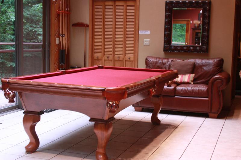 Enjoy a game of pool with a view of the creek. - Mountainbrook, Great Location! 1/2 mile to town - Gatlinburg - rentals