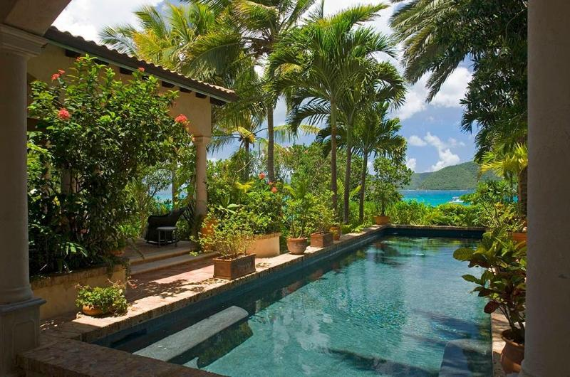 Pool & side of Veranda with Carribean Sea steps away - Peter Bay Beach House. Paradise on a Private Beach - Peter Bay - rentals
