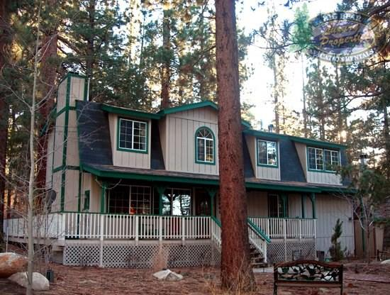 Timberline Lodge - Front of the cabin with the San Bernardino National Forest in the background - Timberline Lodge - 4 Bedroom Vacation Rental in Big Bear Lake - Big Bear Lake - rentals