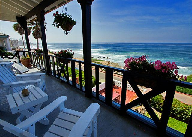Relax and watch the waves on the deck. - #6933-La Jolla Beach Vacation Rental Overlooking Windansea Beach - La Jolla - rentals