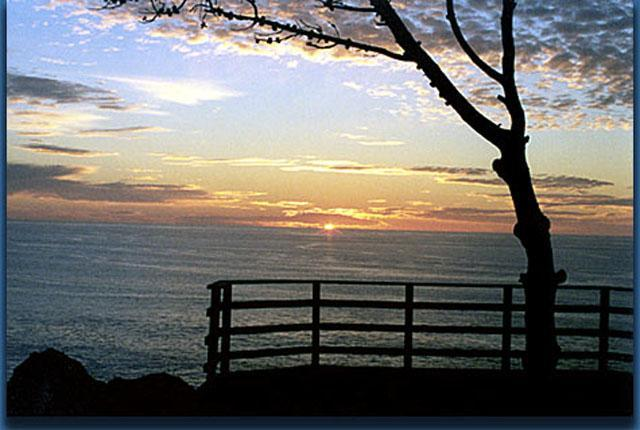 Sunset from fireplace room - Ocean Front Home on 7 Acres (Seacliff Hideaway) - Mendocino - rentals