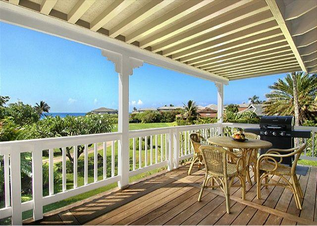 Covered ocean view lanai - Shipwrecks Beach Cottage - Grand Poipu Vacation Home at Shipwrecks Beach - Poipu - rentals