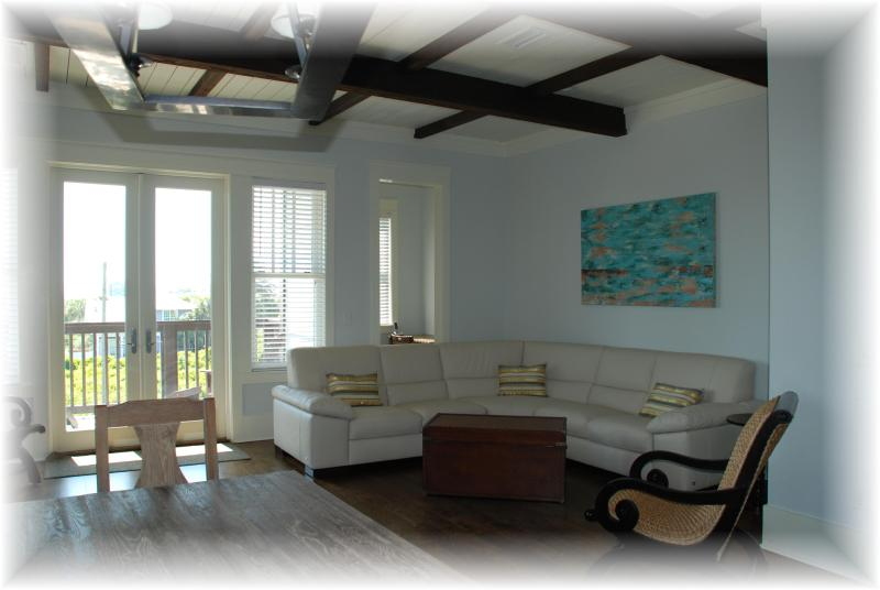 georgous living area with italian leather sectional and beach views from balcony - Luxurious New Home, views, 100yds to the beach! - Inlet Beach - rentals
