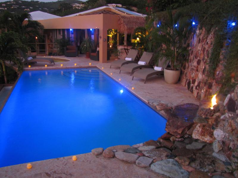 blue light dusk at the villa - Some like it hot,oceanfront - Oct 9-17 $7900 - Chocolate Hole - rentals