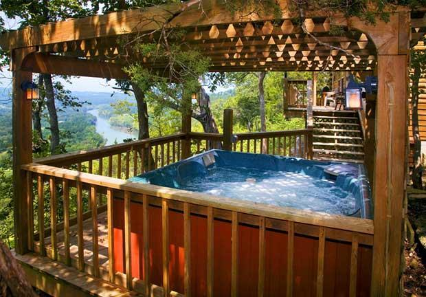 Private Hot Tub on Private Deck overlooking the river - CanUCanoe Cabin 105 - The Trapper - Eureka Springs - rentals