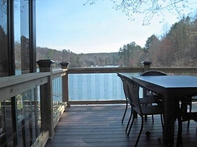 Deck view of lake with glass baulsters - Lakefront home, Arcade, hot tub, swim-fish-boat - Waleska - rentals
