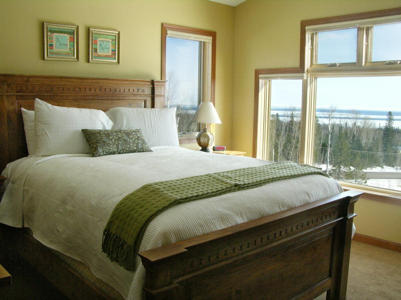 Master Bedroom overlooking Lake Superior - Unit A - Heritage Townhomes Luxury 2&3 Bedroom -Ski Hill Rd - Lutsen - rentals