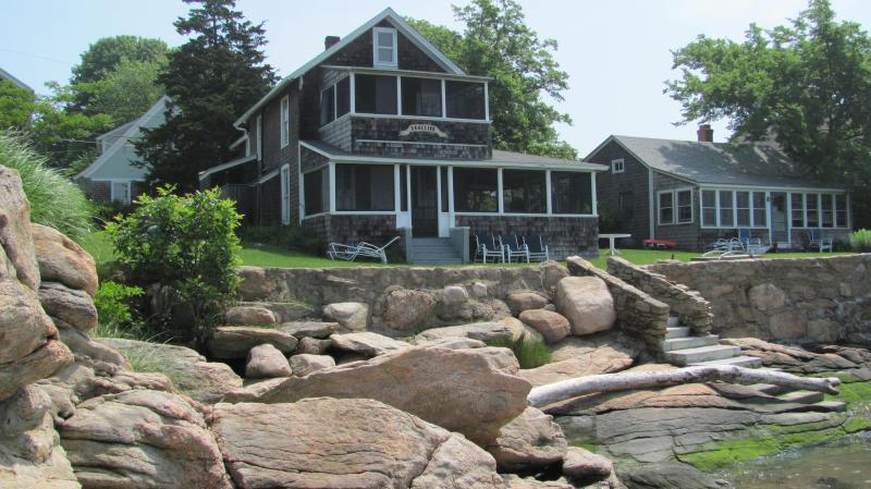 view of cottage from rocks at low tide - Charming Waterfront Beach Cottage-WOW! Sunsets - Guilford - rentals