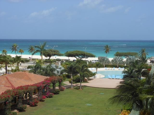 Panoramic Ocean and pool view from the Emerald Two-bedroom. - Emerald View Two-Bedroom Condo - P416 - Eagle Beach - rentals