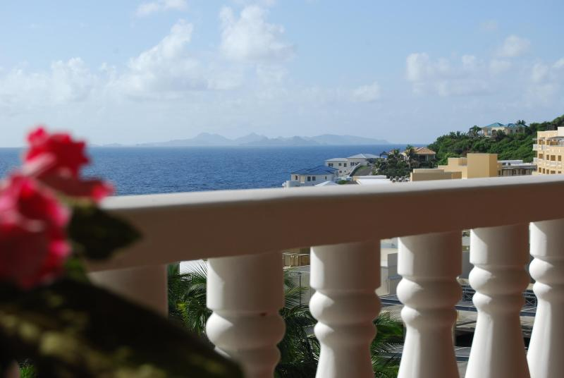 The view from the large covered lanai - 1 Bdrm Condo with Superlative Views of St. Barts - Dawn Beach - rentals