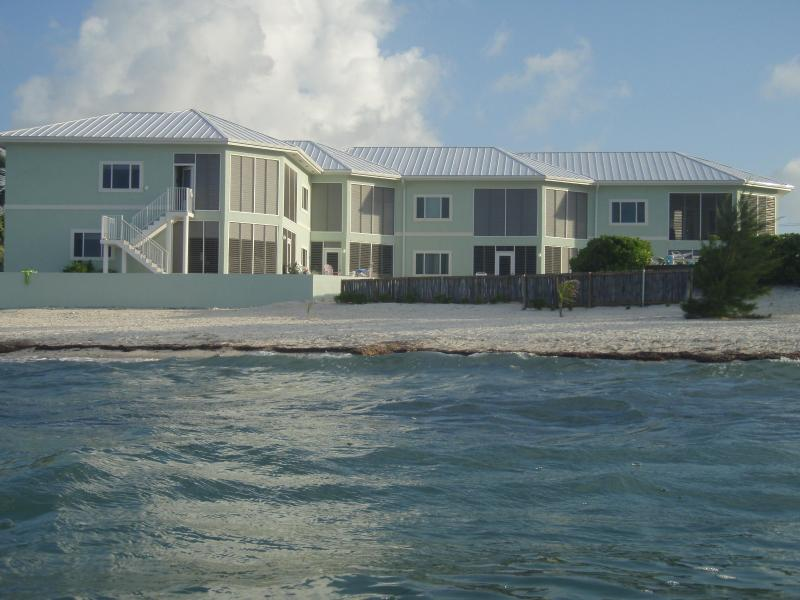 Back of Condo view from in the ocean - Ocean's Edge Grand Cayman Condo - Rum Point - rentals