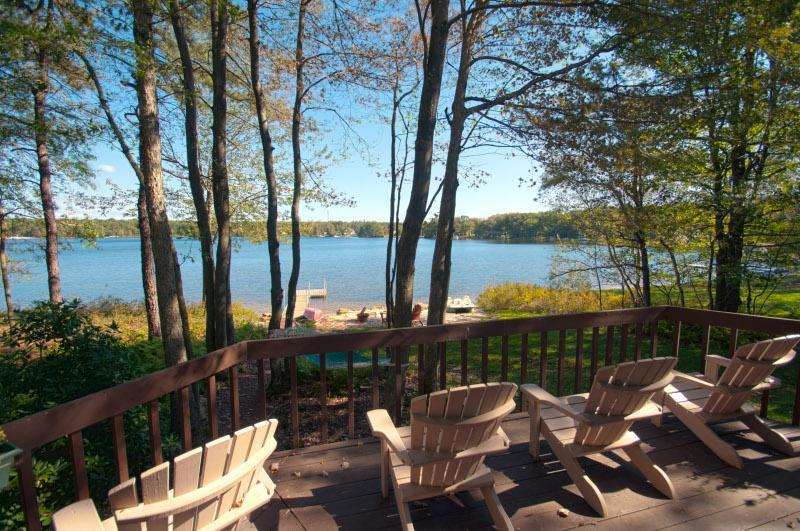 Deck overlooking beach and lake - Beautiful Pocono Lakefront Home with Private Beach - Jim Thorpe - rentals