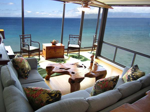 Living area with breathtaking 180 ocean views - Aug 28-Sep 3 - $375/nt Mahana 2 King BR Oceanfront - Lahaina - rentals