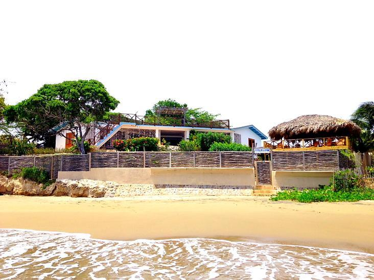 Doubloon from the Beach, new Pool Deck to the right - Doubloon Villa, beach and pool at heart of T Beach - Treasure Beach - rentals