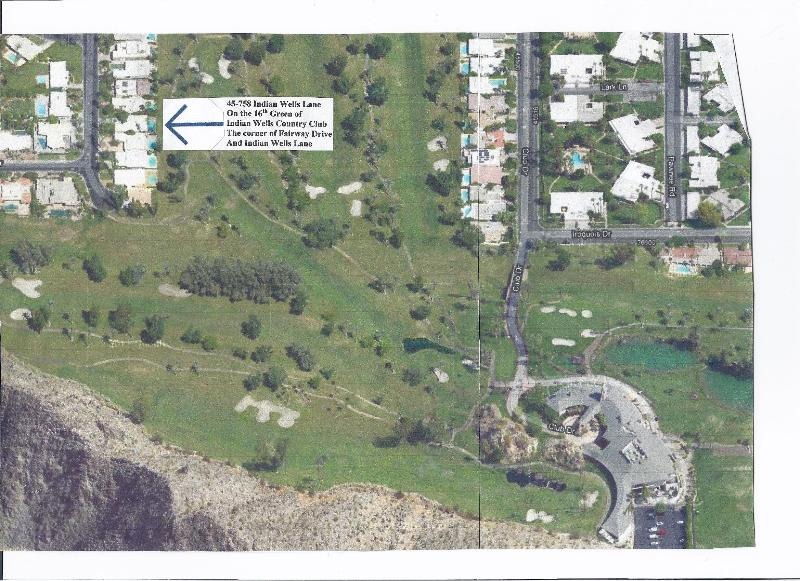 Sky view of where our home is on the golf course - Dream Home on 16th T Indian Wells Golf Course - Indian Wells - rentals