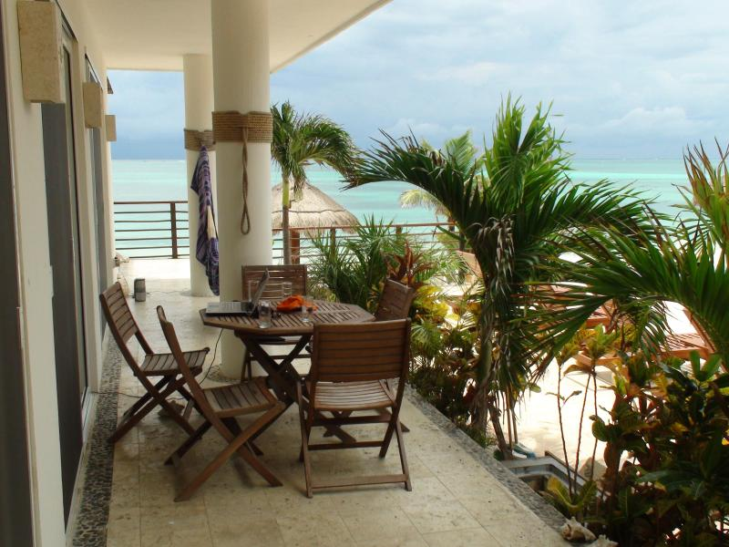 Our terrace perfect for dining outside - Luxury Two Bedroom Oceanfront Condo, private deck - Puerto Morelos - rentals