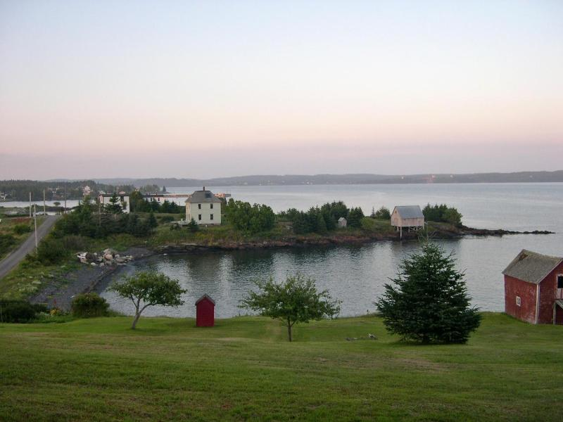 overview of Bell's Cove showing Fred Covey's House - Oceanfront, So. Shore, Lunenburg Co., Nova Scotia - LaHave - rentals