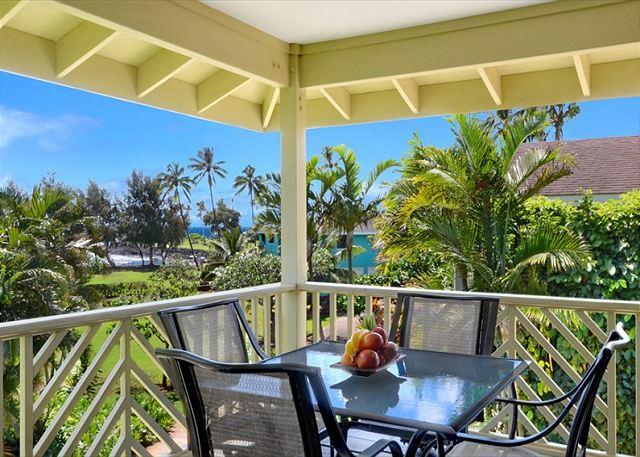 Spacious Kahele Kai covered lanai and Brennecke Beach views - Kahele Kai - 3 Bedroom Poipu Home 75 yards to Brennecke's and Poipu Beach! - Poipu - rentals