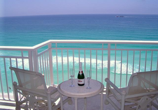 Master bedroom balcony.  Sip champagne while watching the dolphins romp!! - Penthouse Luxury, Destin Towers 3BR on Beach/Gulf! - Destin - rentals