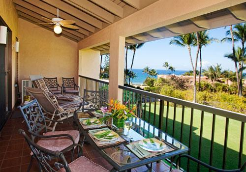 Large Ocean View Lanai - listen to the surf - Partial Beach Ocean View Remodeled Ekahi Condo 18E - Wailea - rentals