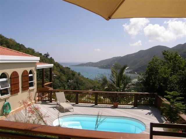 Swimming pool from Cabana w/dining area, wet bar & grill - Coral Bay, Estate Carolina, USVI Villa w/Harbor View, Private Pool close to Restaurants & Shops - Mill Ridge - Comfort and Quality in Coral Bay - Coral Bay - rentals