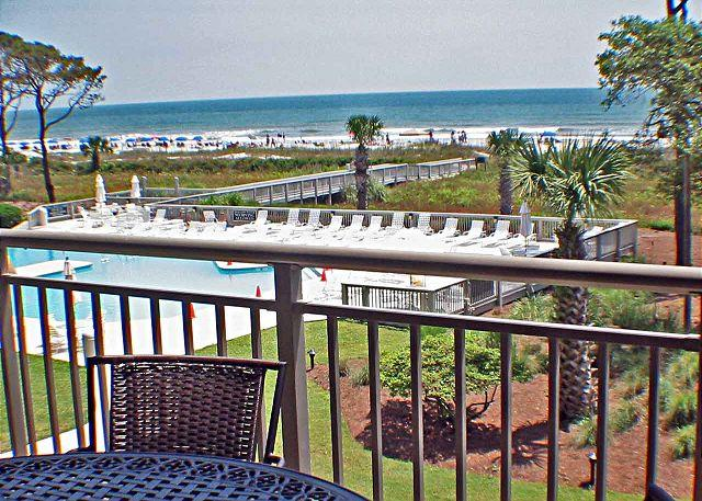 Ocean One 319 View of Pool and Ocean - Ocean One 319 - Oceanfront 3rd Floor Condo - Hilton Head - rentals