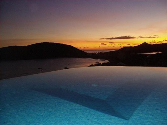 Sunset from pool. - SPECIAL 2 FOR 1  Luxury Villa & Beach Front Lounge - Turtle Beach - rentals