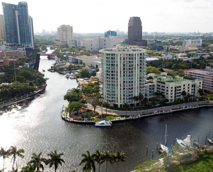 Great aerial view of the building at 'Sailboat Bend' - Penthouse Luxury Condo Downtown on the New River - Fort Lauderdale - rentals