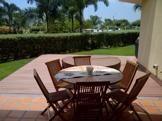 Spacious outdoor terrace with 6 person patio table, hot tub and BBQ - Beach Garden One-Bedroom condo - E124-2 - Eagle Beach - rentals